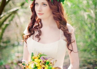 Long curly wedding hairstyle