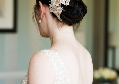Sophisticated bun wedding hair up style