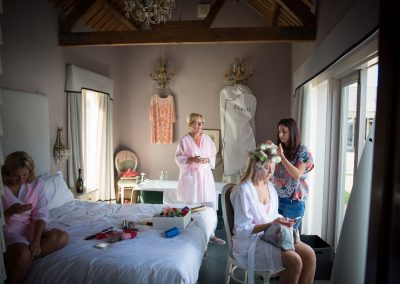Wedding hair preparation at Ash Tree Barns