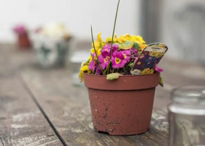 Table with flower pot at Ash Tree Barns, photo by Lucy Dack Photography