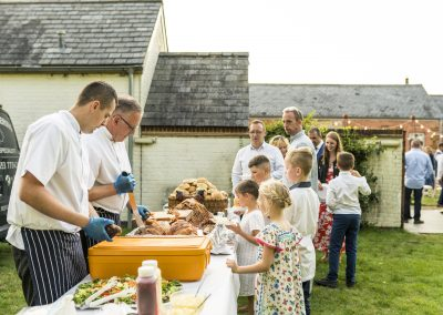 Outdoor catering at a September wedding. Photograph: Lucy Dack Photography