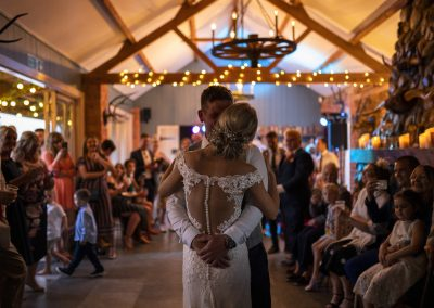 Our living room transformed into a dance floor for the couples first dance. Photograph: Lucy Dack Photography